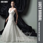beautiful lace flower beaded bridal wedding dress HS1990