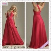 1268-1hs Wholesale Sexy One Shoulder Red Chiffon Zipper in back Beaded Long Prom Dresses 2012