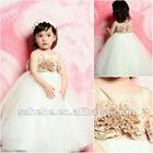 2012 Fabulous 3D flowers sweety ball gown tulle flower girl dress white