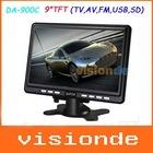 Free Shipping DA-900C 9 inch TFT LCD Portable Color TV Monitor with USB/FM/AV/SD Black Dropshipping+Wholesale