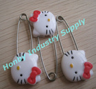 Cute Hello Kitty Plastic Head Decorative Diaper Pin