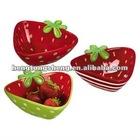 ceramic strawberry design triangle salad bowl