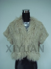 Knitted rabbit fur coat with tibet sheep fur collar