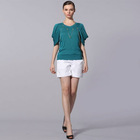 Womens' New Fashion V Neck Puff Sleeve Knitted Slub Tops