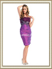 2012 Custom Made Popular Pleated Empire Waist Knee Length Strapless Prom Dress Purple