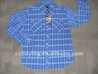 100% cotton check men's long sleeve shirt