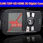 2012 Newest 720P HD 2.4'' 3D LCD Display HDMI Output 2 Camera 3D Digital Cam