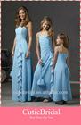 Custom Made Spaghetti Strap Beading Falbala Cut Chiffon Bridesmaid Dress