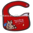 Waterproof with velcro red color with cute embroidery bear pattern baby bib