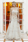 Champagne/Gold Beaded Empire Bodice with Small Flowers and Petals Around the Waistline Beaded Vine Motif Bridal Wedding Dress