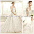 Elegant Scalloped-Edge A-Line Chapel Train Lace Wedding Gown HS1252