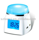 4port USB HUB with color changing LCD clock