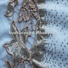 water soluble shirt hem embroidery fabric with sequins