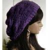New 2012 Teenager Slouchy Beret Braided Baggy Beanie Crochet Hat Baggy Cap Purple