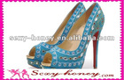 Latest Fashion Blue High Heel Shoe Woman