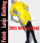 100% handmade natural latex catsuit, yellow catsuit