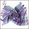100% mercerized wool check shawl with nice design