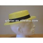Plastic straw effect boater hat for small head