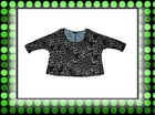 women`s leopard short style t shirt,3/4 sleeve