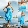 Charming A-line Strapless Ice Blue Chiffon 2012 Fashion Cocktail Dress