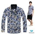 Italian style long sleeve latest brand design slim fit floral pattern casual fancy fashion 100% cotton printing men satin shirt