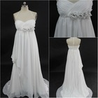 Princess sweetheart floor length white chiffon pleating beaded court train handmade flower sexy backless prom dresses 2013
