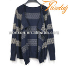 Fancy angora sweater cardigan with golden lace knitting stripe