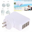 US/AU/UK/EU Plug USB-4PF USB2.0 Ultra Compact 4 Port USB A/C Power Adapter Wall Charger