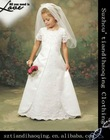 7-10years short sleeve beautiful lace flower girls dresses