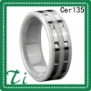 Cer135 White Ceramic Two Groove inlay sliver rings