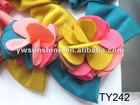 Applique yellow and pink flower stick on bow
