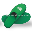 green color terry cloth closed toe terry slippers