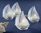Sail Frosted Glass Sailboat Tea Light Holders