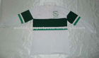 Men's long sleeve white and green striped rugby shirt