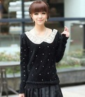 Sweet Lovely Paillette Embellished Long Sleeve Fuzzy Soft Comfortable Sweater Black TQ12092711