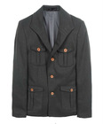 Men's wool multiple pocket blazer jacket