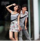 Couple casual wear men's t shirt cotton printed daily sleeveless women's slim fashion dresses