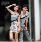 Couple casual wear men's t shirt cotton printed daily sleeveless women's slim fashion dresses