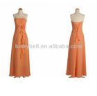 Beautiful Strapless Draped Orange Chiffon Evening Dresses