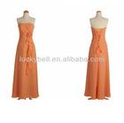 Beautiful Strapless Draped Orange Chiffon Evening Dresses