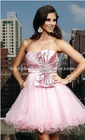 Pretty A-Line Peach Red Satin Short Evening Dress