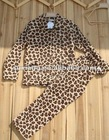 100% polyester leopard printed coral fleece pyjama