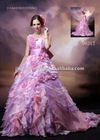 2011 New arrival handmade flower pink and purple bride wedding dress 98313