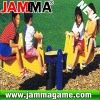 hot and funny outdoor playground four people seesaw