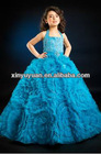 Full Organza Flower Halter Beaded A-line Prom Gown Party Dress For Little Girl PT-262