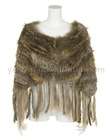 YR-013 women's genuine raccoon dog & rabbit knitted fur poncho