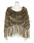 YR-013 women's genuine raccoon dog & rabbit knitted fur poncho