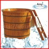 Round wooden spa barrel with ladder