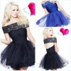 New Arrived Magnificent Strapless Shearth Ruffle Appliqued Tulle Sexy Short Prom Dresses
