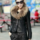 C65-809 Lady fur collar PU leather jacket
